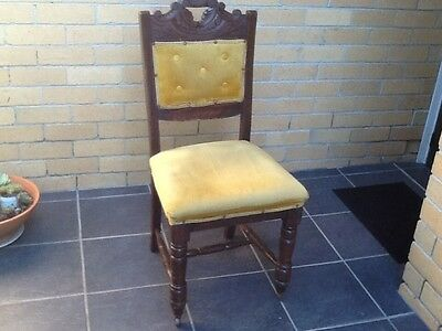 Antique Dining Chair Carved Back Front Legs on Castors