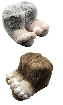 NEW Large Grey Bigfoot Funny Warm Novelty Slippers Size 3 to 12 UK GREAT GIFT