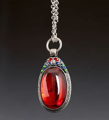 Beautiful Rare Chinese Red Stone Sterling Silver Necklace Pendant Us059