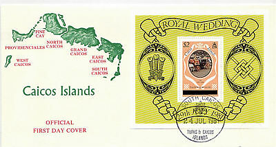 CAICOS ISLANDS 24 July 1981 ROYAL WEDDING LONDON PRINTING MINIATURE SHEET FDC