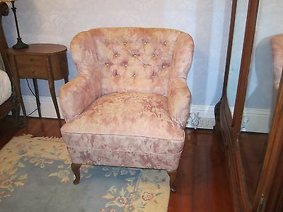 Beautiful antique buttoned back wingbacked chair