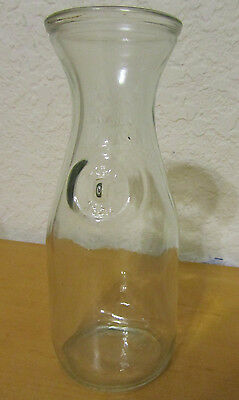 V3939 Vtg Milk Wine Carafe Paul Masson, Etched Glass Bottle Embossed Since1852