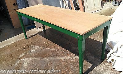 Reclaimed Long Narrow Ply Top Table With Painted Green Wooden Legs 6ft