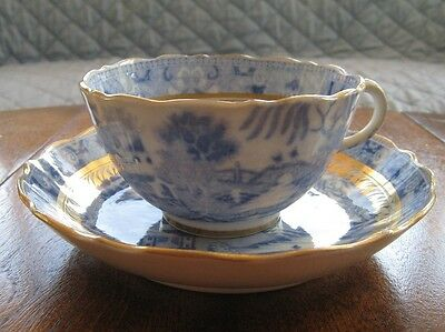 Chinese Export or Spode ? Cup Saucer Blue White and Gold Possibly 19th Century