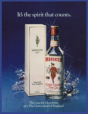 Vintage 1981 BEEFEATER Dry Gin Alcohol Liquor Christmas Holiday Print Ad 1980's
