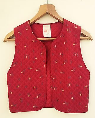 Vintage 70s St Michael Red Cotton Floral Print Quilted Waistcoat 8 10 Small
