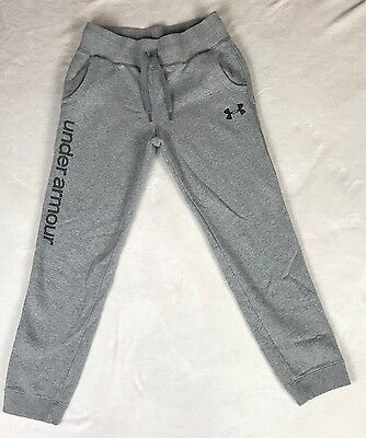 Under Armour Boys Youth All Season Gray Loose Fit Cotton Blend Sweat Pants Sz XL