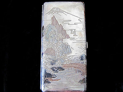 Vintage Japanese Engraved Sterling Silver Cigarette Case 6 inch in Box