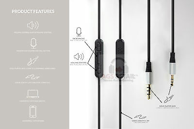 1.2m Audio Upgrade cable For Bowers and Wilkins P5 P7 Mic and Remote-Gold Plated