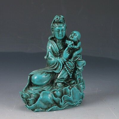 100% Natural Turquoise Hand Carved Sending of Children Kwan-yin Statues DY224
