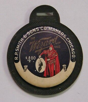 R.P. Smith & Sons Chicago $4.00 Celluloid Mirror 'The Wizard Shoe' - 46mm