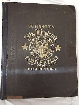 1864 American and World Atlas- Johnson's New Illustrated - folio-size, complete