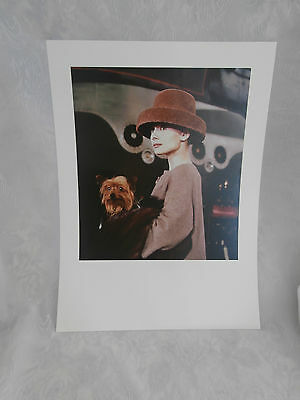 """AUDREY HEPBURN WITH DOG IN FUNNY FACE COLOUR 12"""" x 16"""" PORTRAIT PRINT POSTER NEW"""