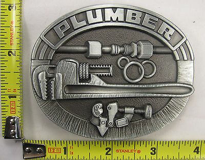 Plumber Metal Belt Buckle Pipes Pipe Wrench Cutter Tools Trade Work B671