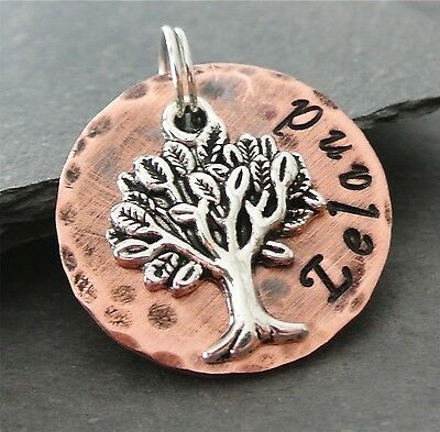 Tree of Life Stamped Rustic Metal Pet ID tag Dog Id Tag Copper 1 inch