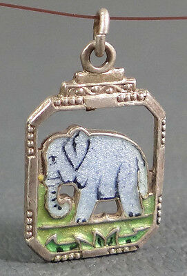 Antique Sterling Silver &guilloche Enamel Elephant Animal Necklace Chain Pendant