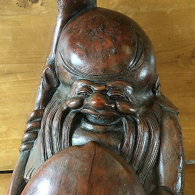 Antique Chinese Bamboo Root Carving, Shou God of Longevity