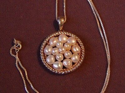 HEAVY ESTATE VINTAGE NATURAL MULTIPLE PEARL STERLING SILVER PENDANT and NECKLACE