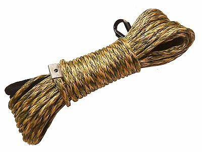 "CAMO Synthetic Winch Rope Line Cable 1/4""x50' 7000 LB With Rock Guard For ATV"