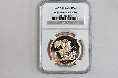 2010 Great Britain 5 Sovereign Proof Gold Coin NGC PF 69 Ultra Cameo From Set!