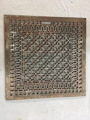 Large 27 x 27 Antique Gothic Cast Iron Cold Air Return Vent Vtg Grill 349-17E