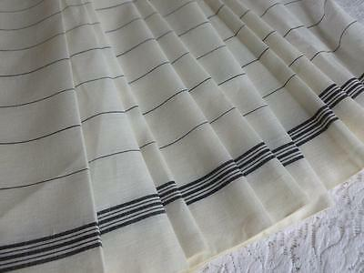 Unused Vintage French Pure Linen Fabric Black Stripes Sold By The Meter