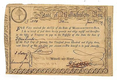 1779 State of Massachusetts Bay Fifteen Pounds Treasury Certificate - Large Note