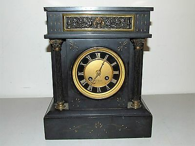 Antique 1921 French Victorian Art Deco Black Marble Slate Mantel Shelf Clock