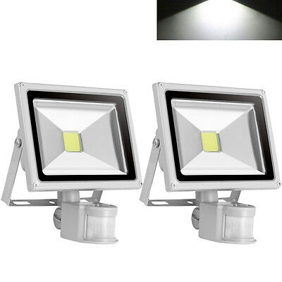 2X 20W LED PIR Motion Sensor Floodlight Outdoor Security Lamp Cool White IP65