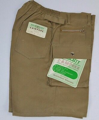 Vtg 1970s Briarcliff CAMPERS Boys Khaki Camping Hiking Shorts 12 Heavy Twill NOS