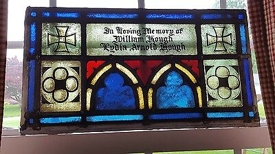 GOTHIC LEADED STAINED GLASS MEMORIAL 100+yr old, ZERO ISSUES, NEWARK CHURCH