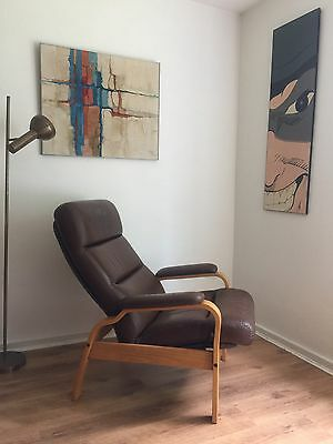 Vintage Mid Century Scandinavian Leather Recliner Arm Chair And Footstool