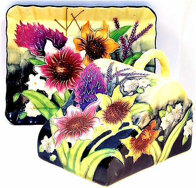 Old Tupton Ware Hand Painted Summer Flowers Ceramic Butter Dish and Lid