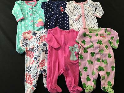 Baby Girls All Carters Newborn 0/3 3 Month Sleepers Pajama  Lot G20 Free Ship
