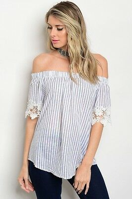 Women White Cold Shoulder Off Shoulder Striped Crochet Top Blouse Boho Casual