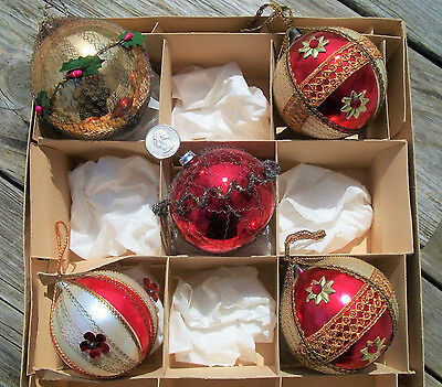Lot of 5 Vintage Glass Wire Wrapped Jeweled & Sequins Beads Christmas ORNAMENTS