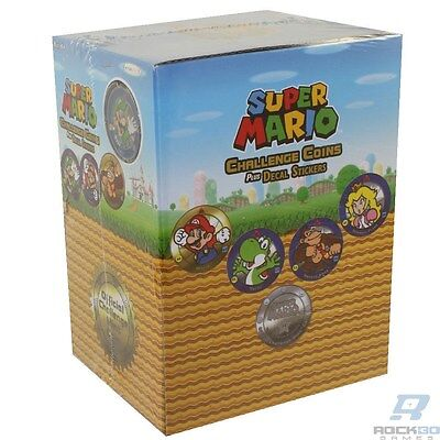 Display Case Lot - 24 Super Mario Challenge Coins & Decal Stickers - New Sealed
