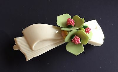 Vintage Barrette - 1940's White Barrette with Hand Crafted Green/Pink Flower