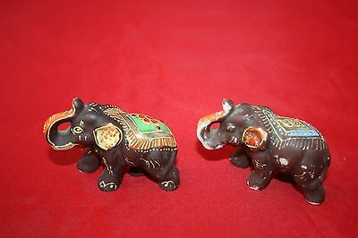 Vintage 2 Elephant  elephants Japan Brown Figurine Collectible Hand Painted