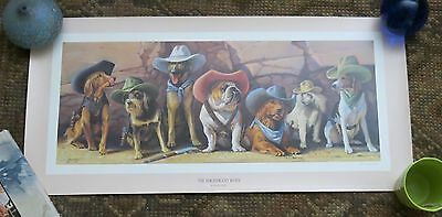 Vtg The Magnificient Seven Western Cowboy Dogs Lithograph Signed Bryan Moon