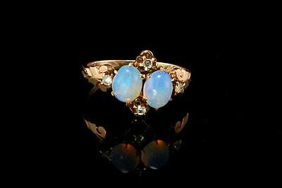 Antique Victorian 14K Gold Opals Rose Cut Diamond Ring  (052117099)