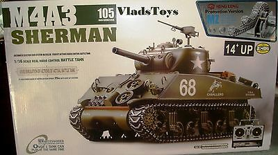 Heng Long 1/16 R/C M4A3 Sherman Tank w/105mm Upgrade w/Metal Gear & Tracks USA