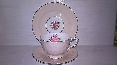 Vintage Aynsley Pink Bone China Trio Shabby Chic Roses Wedding Cupcake Tea Party