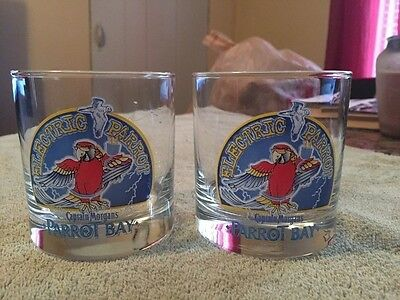Captain Morgan's Parrot Bay Electric Parrot Rum Tumbler Barware Glass Set of 2