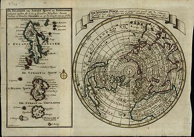 North Pole Northern Hemisphere islands exploration c.1760-80 old antique map