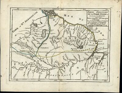 French Guiana France Portugal colonies South America c.1750 old antique map