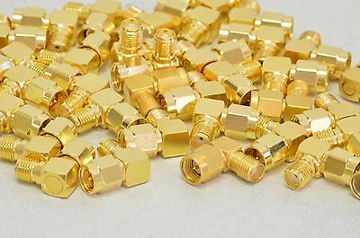 Lot Qty 40 Pcs SMA Right Angle (RA) Adapter Gold Plated Male-Female Connector