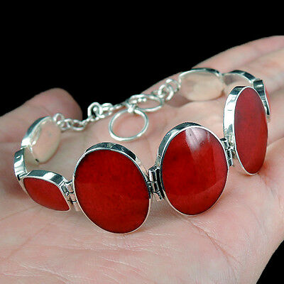 Beautiful RED CORAL & 925 STERLING SILVER Bracelet, QUALITY ITEM