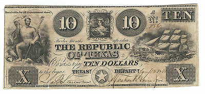 1840 Republic Of Texas, Ten Dollars Note, Cr-A5, Very Fine