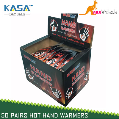 100 KASA 50 Pairs Hot Hand Warmers Pack 10 Hrs Natural
